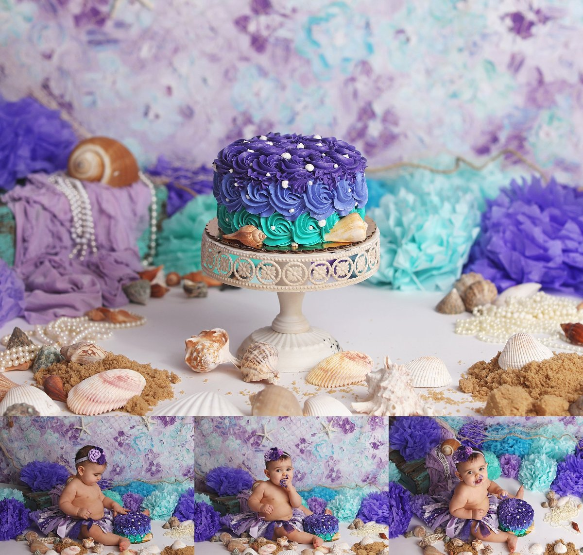 Messy Mermaid Cake Smash First Birthday Photos Tonawanda